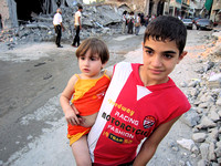 Children in the rubble.